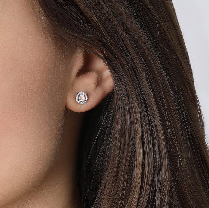Pink Lab Diamond Halo Earrings | Lightbox