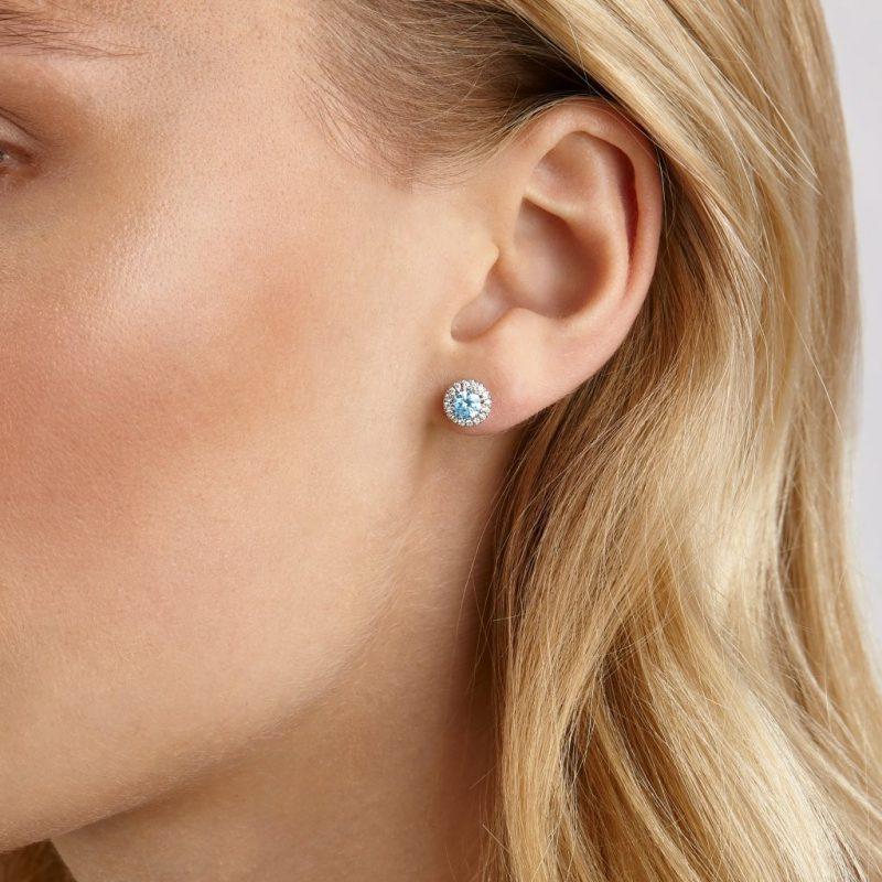 Blue Lab Diamond Halo Earrings | Lightbox