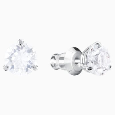solitaire-pierced-earrings--white--rhodium-plated-swarovski-1800046